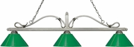 Z-Lite 114-3AS-PGR Melrose Antique Silver Green Kitchen Island Light