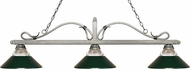 Z-Lite 114-3AS-RDG Melrose Antique Silver Clear Ribbed Glass and Dark Green Kitchen Island Lighting