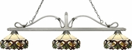 Z-Lite 114-3AS-Z14-33 Melrose Antique Silver Multi Colored Tiffany Kitchen Island Light Fixture