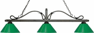 Z-Lite 114-3GB-PGR Melrose Golden Bronze Green Island Light Fixture