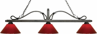 Z-Lite 114-3GB-PRD Melrose Golden Bronze Red Kitchen Island Light Fixture