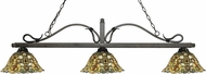 Z-Lite 114-3GB-R14A Melrose Golden Bronze Multi Colored Tiffany Kitchen Island Lighting