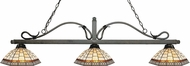 Z-Lite 114-3GB-Z14-35 Melrose Golden Bronze Multi Colored Tiffany Island Lighting