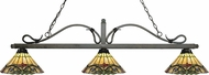Z-Lite 114-3GB-Z14-49 Melrose Golden Bronze Multi Colored Tiffany Island Light Fixture