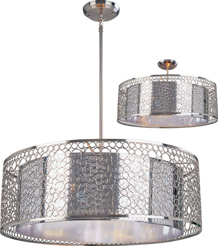 Z Lite 185 26 Saatchi Modern Chrome 26 Wide Drum Hanging Light
