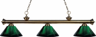 Z-Lite 200-3AB-ARG Riviera Antique Brass Green Kitchen Island Light Fixture