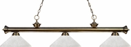 Z-Lite 200-3AB-AWL14 Riviera Antique Brass Angle White Linen Kitchen Island Lighting