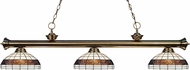 Z-Lite 200-3AB-F14-1 Riviera Antique Brass Multi Colored Tiffany Kitchen Island Lighting