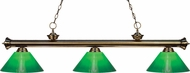 Z-Lite 200-3AB-GCG14 Riviera Antique Brass Green Cased Island Light Fixture