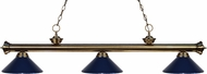 Z-Lite 200-3AB-MNB Riviera Antique Brass Navy Blue Kitchen Island Light