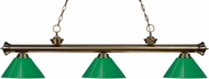 Z-Lite 200-3AB-PGR Riviera Antique Brass Green Kitchen Island Light Fixture