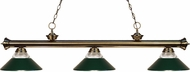 Z-Lite 200-3AB-RDG Riviera Antique Brass Clear Ribbed Glass and Metal Dark Green Kitchen Island Light