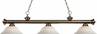 Z-Lite 200-3AB-WM16 Riviera Antique Brass White Mottle Island Lighting