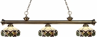 Z-Lite 200-3AB-Z14-33 Riviera Antique Brass Multi Colored Tiffany Kitchen Island Light