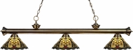 Z-Lite 200-3AB-Z14-46 Riviera Antique Brass Multi Colored Tiffany Kitchen Island Lighting