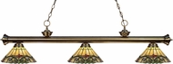 Z-Lite 200-3AB-Z14-49 Riviera Antique Brass Multi Colored Tiffany Kitchen Island Light