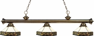 Z-Lite 200-3AB-Z16-30 Riviera Antique Brass Multi Colored Tiffany Island Light Fixture