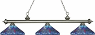 Z-Lite 200-3AS-D16-1 Riviera Antique Silver Multi Colored Tiffany Island Light Fixture