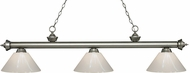 Z-Lite 200-3AS-PWH Riviera Antique Silver White Kitchen Island Light Fixture