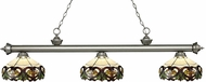 Z-Lite 200-3AS-Z14-33 Riviera Antique Silver Multi Colored Tiffany Kitchen Island Light