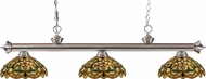 Z-Lite 200-3BN-C14 Riviera Brushed Nickel Multi Colored Tiffany Island Lighting