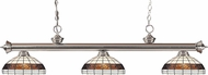 Z-Lite 200-3BN-F14-1 Riviera Brushed Nickel Multi Colored Tiffany Kitchen Island Light Fixture