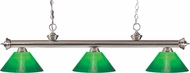 Z-Lite 200-3BN-GCG14 Riviera Brushed Nickel Green Cased Kitchen Island Light