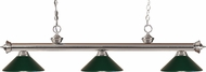 Z-Lite 200-3BN-MDG Riviera Brushed Nickel Dark Green Island Light Fixture