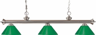 Z-Lite 200-3BN-PGR Riviera Brushed Nickel Green Island Light Fixture