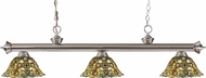 Z-Lite 200-3BN-R14A Riviera Brushed Nickel Multi Colored Tiffany Kitchen Island Lighting