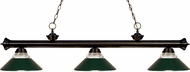 Z-Lite 200-3BRZ-RDG Riviera Bronze Clear Ribbed Glass and Metal Dark Green Island Light Fixture
