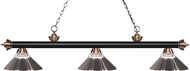 Z-Lite 200-3MB-AC-RBN Riviera Matte Black / Antique Copper Clear Ribbed Glass and Brushed Nickel Kitchen Island Light Fixture