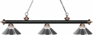 Z-Lite 200-3MB-AC-RCH Riviera Matte Black / Antique Copper Clear Ribbed Glass and Chrome Island Lighting