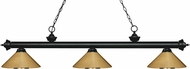 Z-Lite 200-3MB-MPB Riviera Matte Black Polished Brass Island Light Fixture
