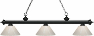 Z-Lite 200-3MB-PWH Riviera Matte Black White Kitchen Island Light