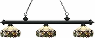 Z-Lite 200-3MB-Z14-33 Riviera Matte Black Multi Colored Tiffany Kitchen Island Light