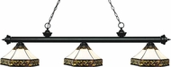 Z-Lite 200-3MB-Z16-30 Riviera Matte Black Multi Colored Tiffany Island Light Fixture