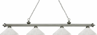 Z-Lite 200-4AS-AWL14 Riviera Antique Silver Angle White Linen Kitchen Island Lighting