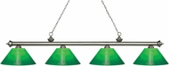 Z-Lite 200-4AS-GCG14 Riviera Antique Silver Green Cased Island Lighting