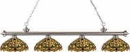 Z-Lite 200-4BN-C14 Riviera Brushed Nickel Multi Colored Tiffany Kitchen Island Light