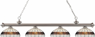 Z-Lite 200-4BN-F14-1 Riviera Brushed Nickel Multi Colored Tiffany Kitchen Island Light