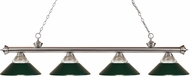 Z-Lite 200-4BN-RDG Riviera Brushed Nickel Clear Ribbed Glass and Metal Dark Green Kitchen Island Light Fixture
