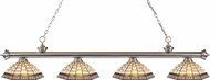 Z-Lite 200-4BN-Z14-35 Riviera Brushed Nickel Multi Colored Tiffany Kitchen Island Light