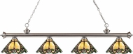 Z-Lite 200-4BN-Z14-37 Riviera Brushed Nickel Multi Colored Tiffany Island Light Fixture