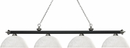 Z-Lite 200-4MB-BN-DWL14 Riviera Matte Black & Brushed Nickel Dome White Linen Kitchen Island Light Fixture