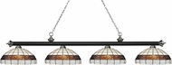 Z-Lite 200-4MB-BN-F14-1 Riviera Matte Black & Brushed Nickel Multi-Coloured Tiffany Island Lighting