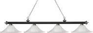 Z-Lite 200-4MB-BN-FWM16 Riviera Matte Black & Brushed Nickel Fluted White Mottle Kitchen Island Light