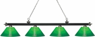 Z-Lite 200-4MB-BN-GCG14 Riviera Matte Black & Brushed Nickel Green Cased Island Light Fixture