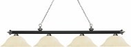 Z-Lite 200-4MB-BN-GM16 Riviera Matte Black & Brushed Nickel Golden Mottle Kitchen Island Light Fixture