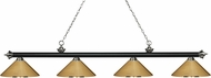 Z-Lite 200-4MB-BN-MPB Riviera Matte Black & Brushed Nickel Polished Brass Kitchen Island Light